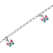Armbånd ærte med pink og turkis sommerfugle 925/-