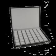 Sort display boks, 42 hvide indsatse