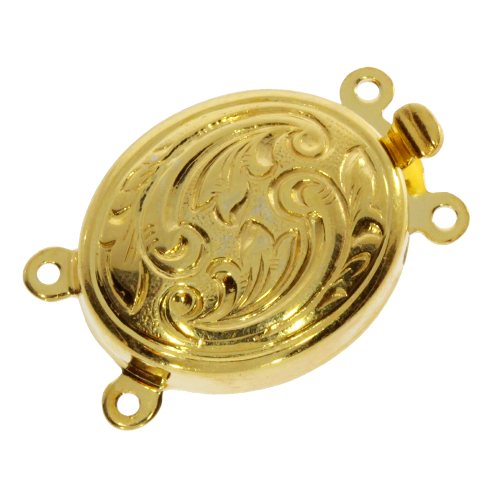 Oval-shaped clasp with antique pattern 925/- gold-plated