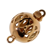 Open polished ball clasp with circle pattern 585/- rose