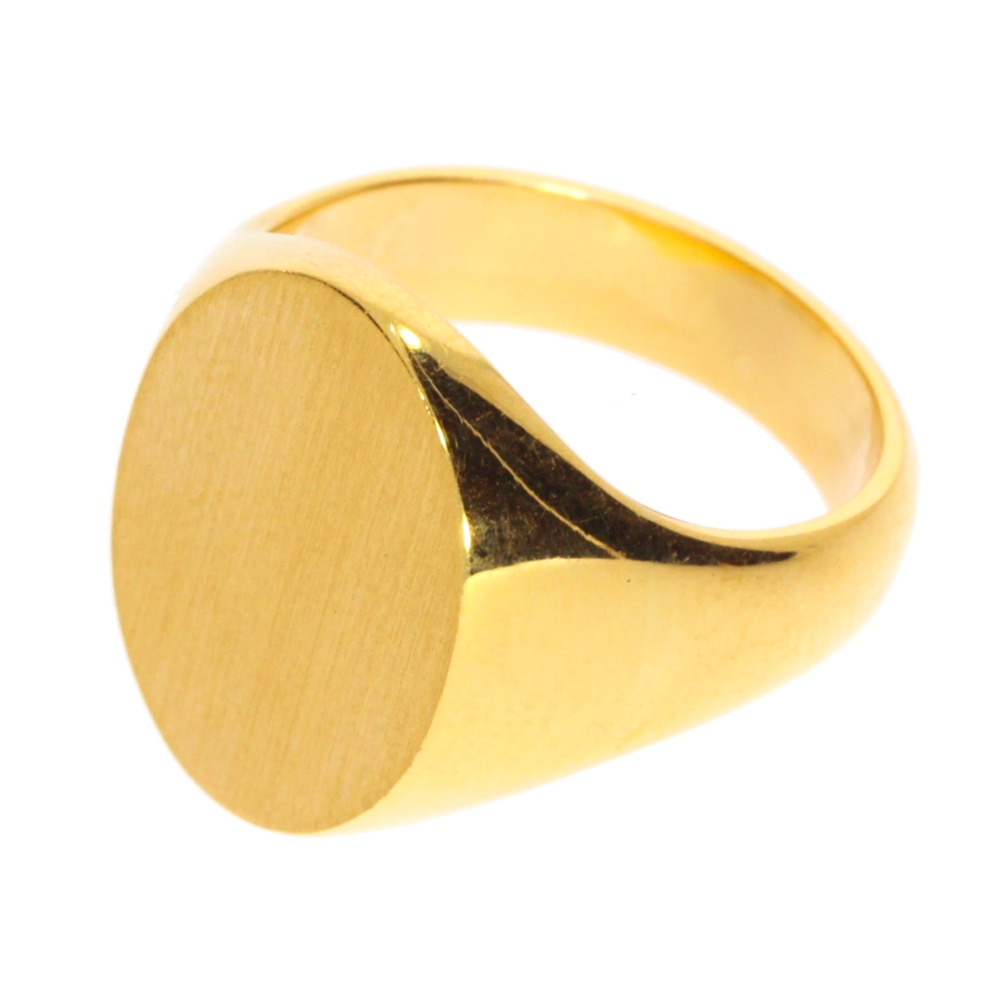 Velsete Oval-shaped signet ring 750/- yellow gold SG-11