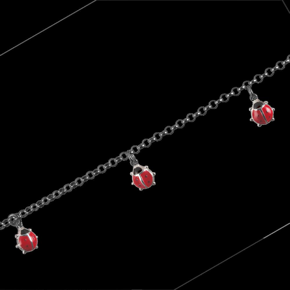 Armbånd ærte med røde mariehøner 925/-